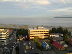 View of the Cook inlet from the room in the second tower