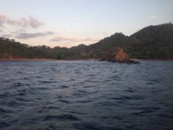 Looking back towards the resort from our sunset snorkel cruise.