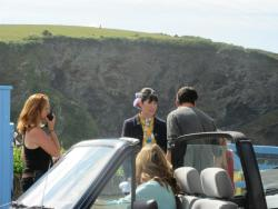 Louisa in a scene being shot in the parking lot of The Old School House