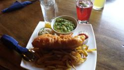 Fish & Chips with mashed peas.