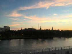 Sunset view of University of Tampa from the Riverwalk . . .