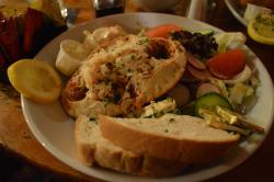 the dressed brown crab with salad and bread