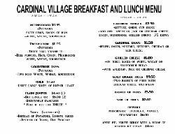 Cardinal Cafe Menu