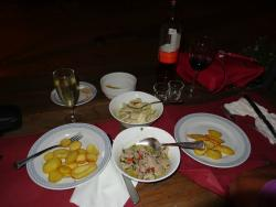 pork and chicken dishes with potatoes...