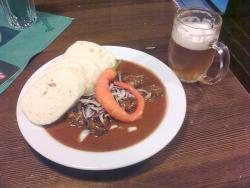 Goulash and dumpling, with beer