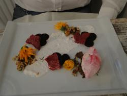 Beetroot ice cream and home made goat cheese