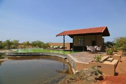 The swimming pool overlooking the pond.
