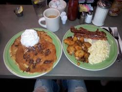 The Ringer w/Scrambled Eggs with Bacon and a Pancake filler of Reese's Pancakes