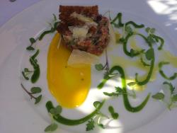 Steak tartar with perfectly prepared egg yolk