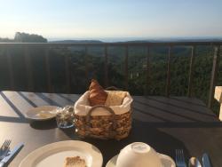 Enjoying the view over breakfast