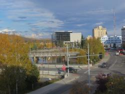 View from room window of 1st St, and Chena River