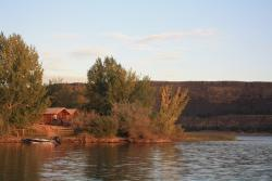 A pic of the cabin next to the lake