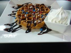 Waffles with m&ms