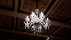 One of the many crystal chandeliers