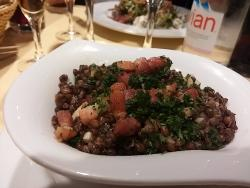 Warm green lentils,and bacon