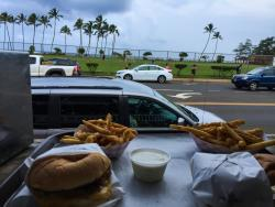 2 burgers and fries on the lanai
