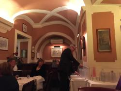 The calm paint tone of the restaurant