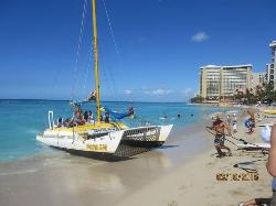 Catamaran on Waikiki beach