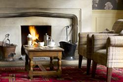 Log fire at The Hare and Hounds