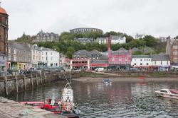 Oban harbour with McCaigs Tower