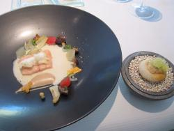 Trout with coconut & horseradish sauce, served with a buckwheat blini and char caviar