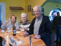Tasting wine at Maraella Winery.