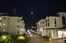 Night view with flight landing