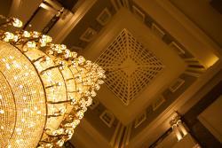 Stunning chandelier in lobby