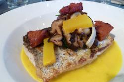 Hake, Ballyhoura mushrooms, pumpkin puree, Gubbeen chorizo