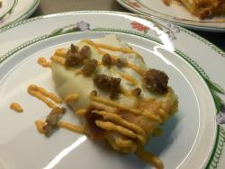 Cannellone con zucca, salsiccia e castagne glassate