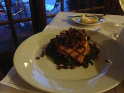Red Snapper, Parmesan herb glaze, creamed spinach, herbed orzo