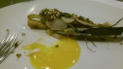 Parsley roots, quail egg yolk, buckwheat 'popcorn'