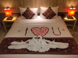 Our bed, honeymoon decor