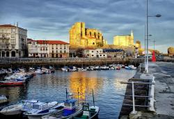 View of the old church and port at Castro Urdiales Spain