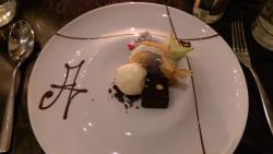 Dessert: Macaroon, brownie, ice cream with a fruit selection