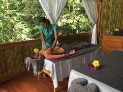 Relaxing massage in the rainforest