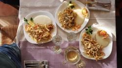 frittura pesce, verdure e polentina di mais