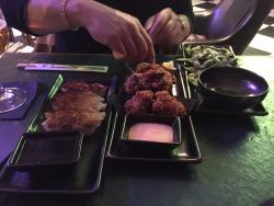 Meat dumplings, Chicken Karrage and Edamame