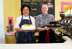 New owner & chef Lufi with Christina at Main Street Cafe & Deli, Greytown