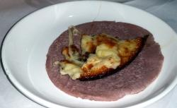 The delicious queso fundido with pink tortillas that looked like ham slices.