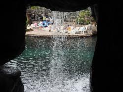 View through waterfall