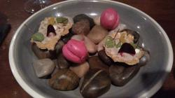 Beetroot Macaroons and Cod Amuse Bouche