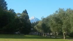 View of Mt Taranaki from the gardens