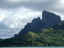 mountain in the middle of the lagoon