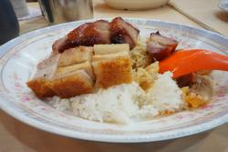 Barbecue pork and roast pork with rice