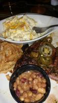 Buckin ribeye with pepper jack mac n cheese and cowboy beans..