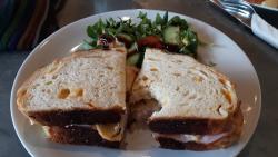 Smoked cheese, ham sandwich