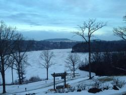 View of Lake Galena from our room.  Ice fishermen out early