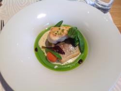 Sea bream with monk fish, green pee puree