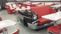 Custom booths are fun to sit in at Classic Burgers in West Springfield, MA.